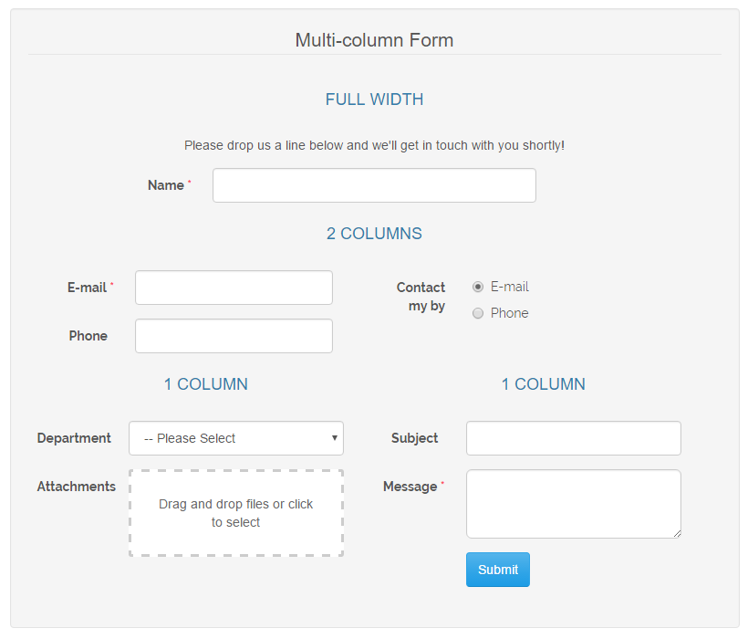 multi-column contact form magento