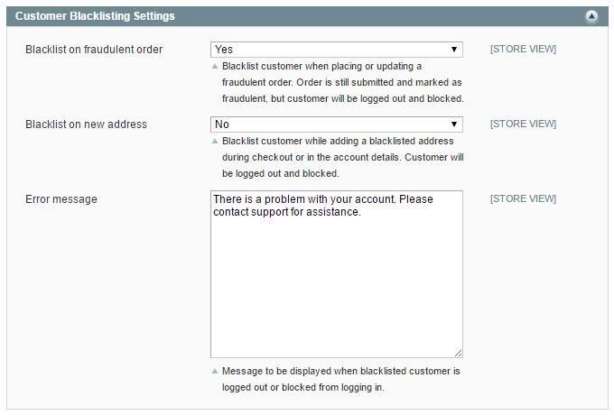 customer blacklisting settings