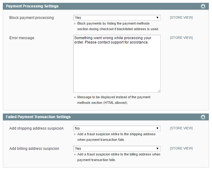 payment processing settings