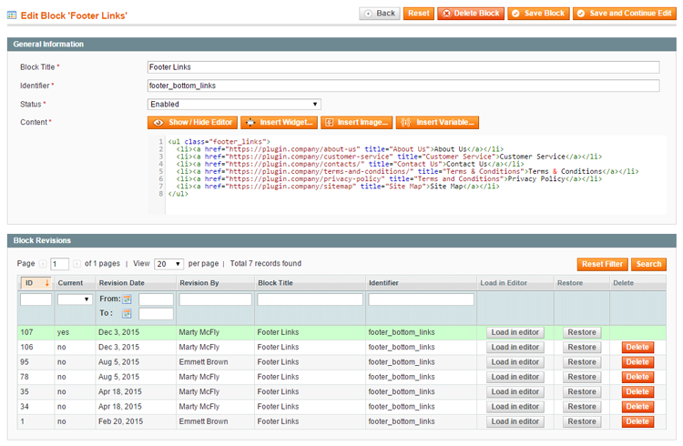 back-up and restore magento cms block revisions
