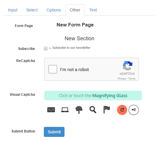 other contact form fields