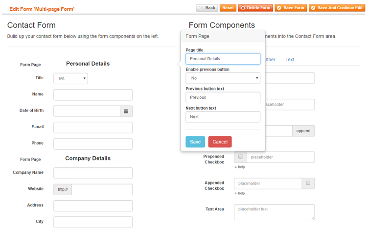 multi-page contact form