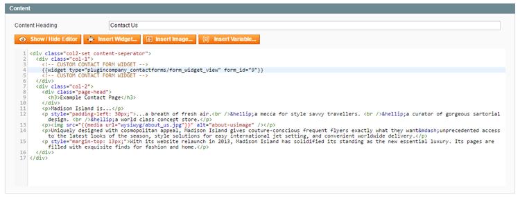 custom contact form widget code