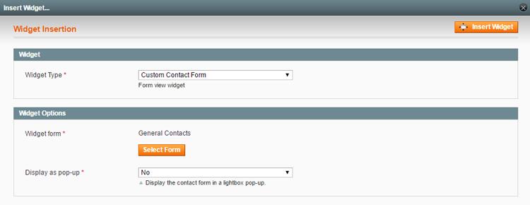 insert contact form widget
