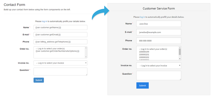 prefilled contact form using variables