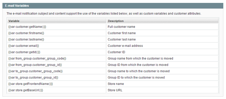 customer group switching e-mail variables
