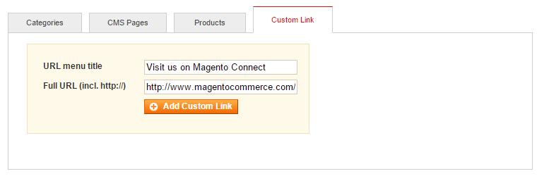 custom link menu item