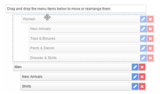 move magento menu items