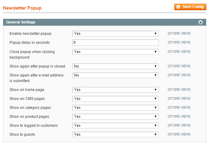 magento newsletter pop-up display settings
