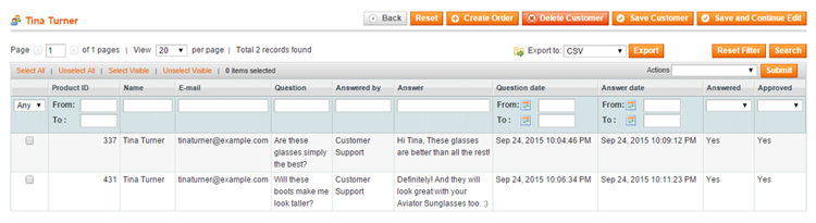 manage product questions per customer