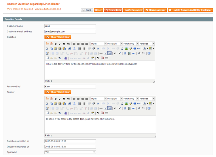 answer product questions in magento