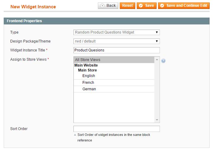 configure product questions widget
