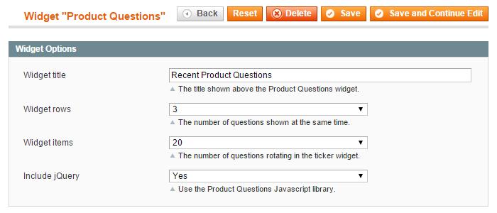 configure magento product questions widget