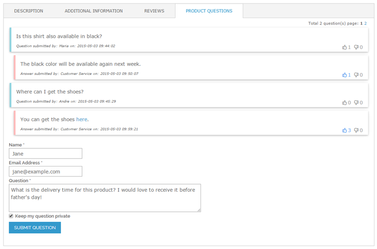 magento product questions panel