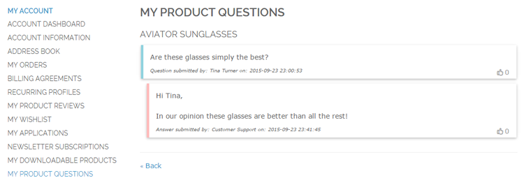 product questions in magento customer account