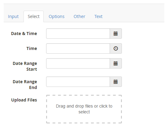 contact form selection fields
