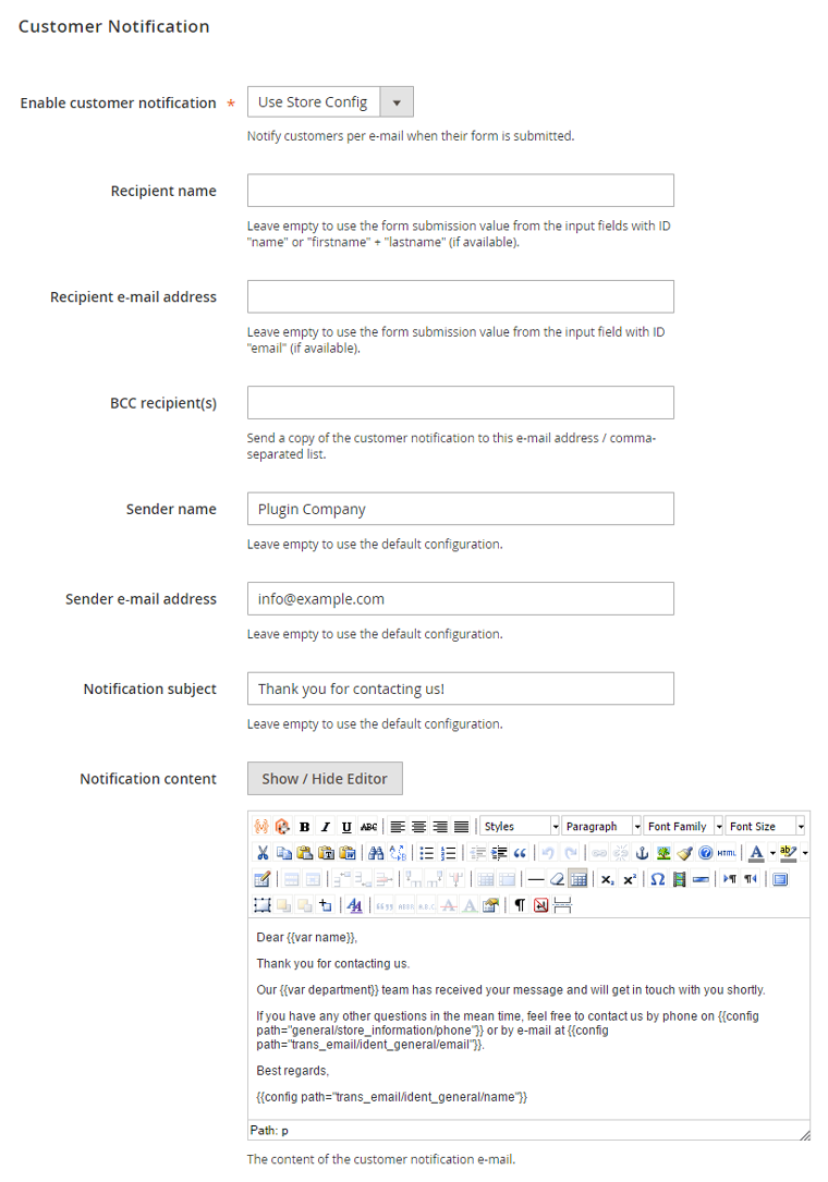 configure customer e-mail notification