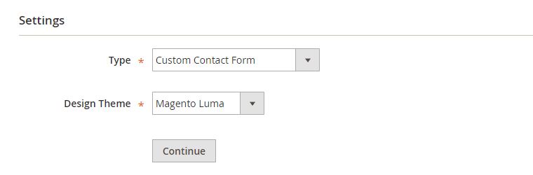 create new contact form widget