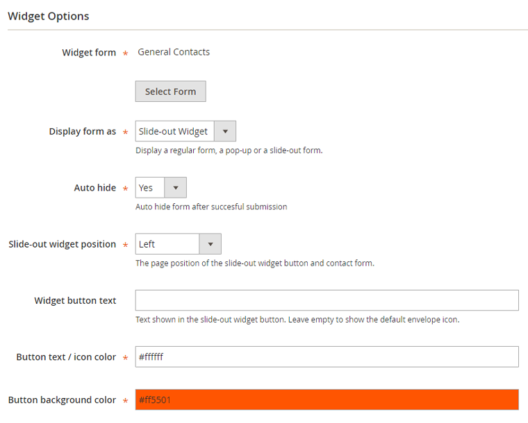 magento 2 slide-out form settings