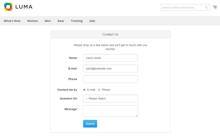 magento 2 contact form page