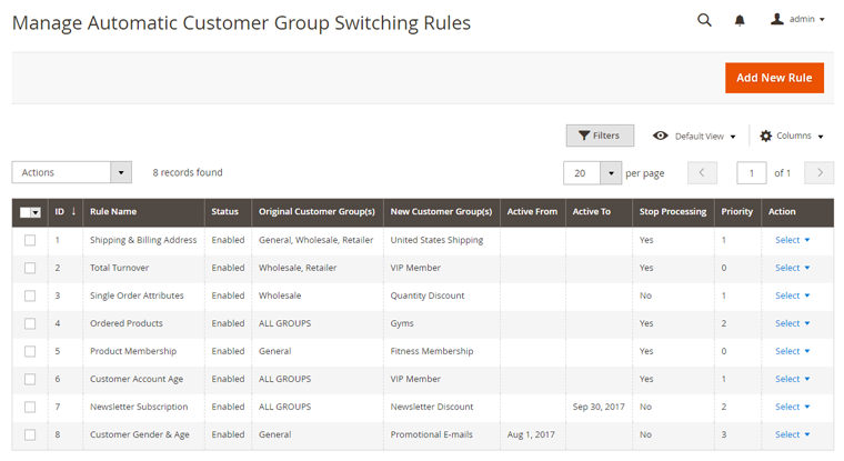 manage customer group switching rules