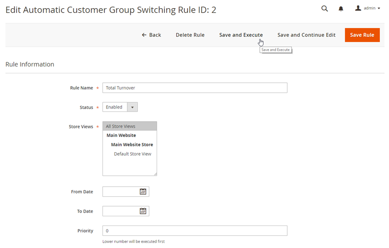 save and execute customer group switching rules