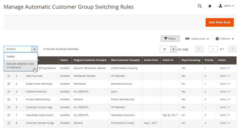 bulk process automatic group switching rules
