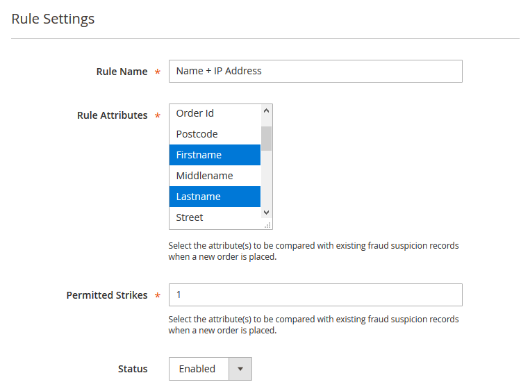 blacklisting rule settings