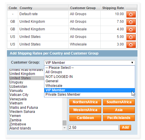 shipping per product, country & customer group Magento Extension